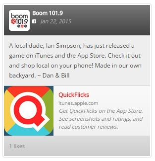 Advert for Quick Flicks from the website of Boom 101.9