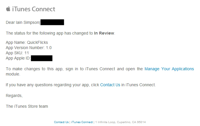In review confirmation from Apple
